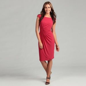 Side drapes stretch midi dress lined formal gown 6